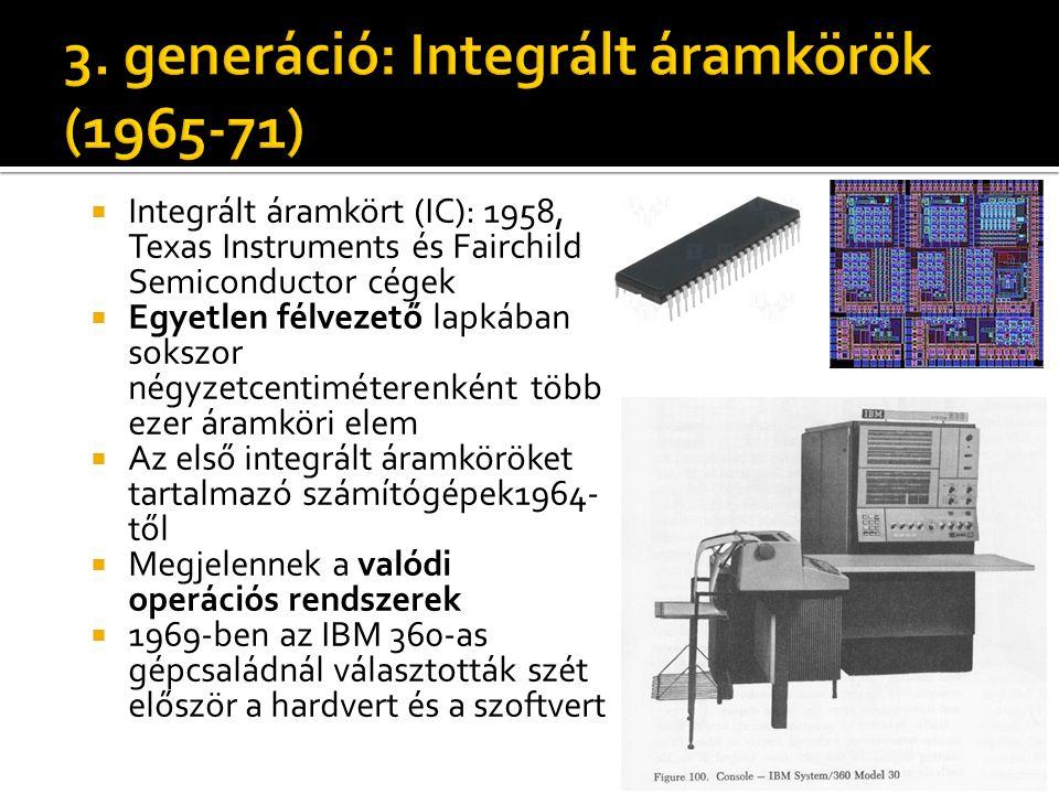3. generáció: Integrált áramkörök (1965-71)