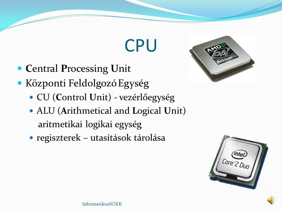 CPU Central Processing Unit Központi Feldolgozó Egység