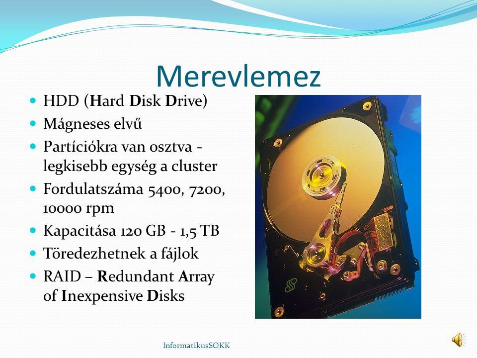Merevlemez HDD (Hard Disk Drive) Mágneses elvű