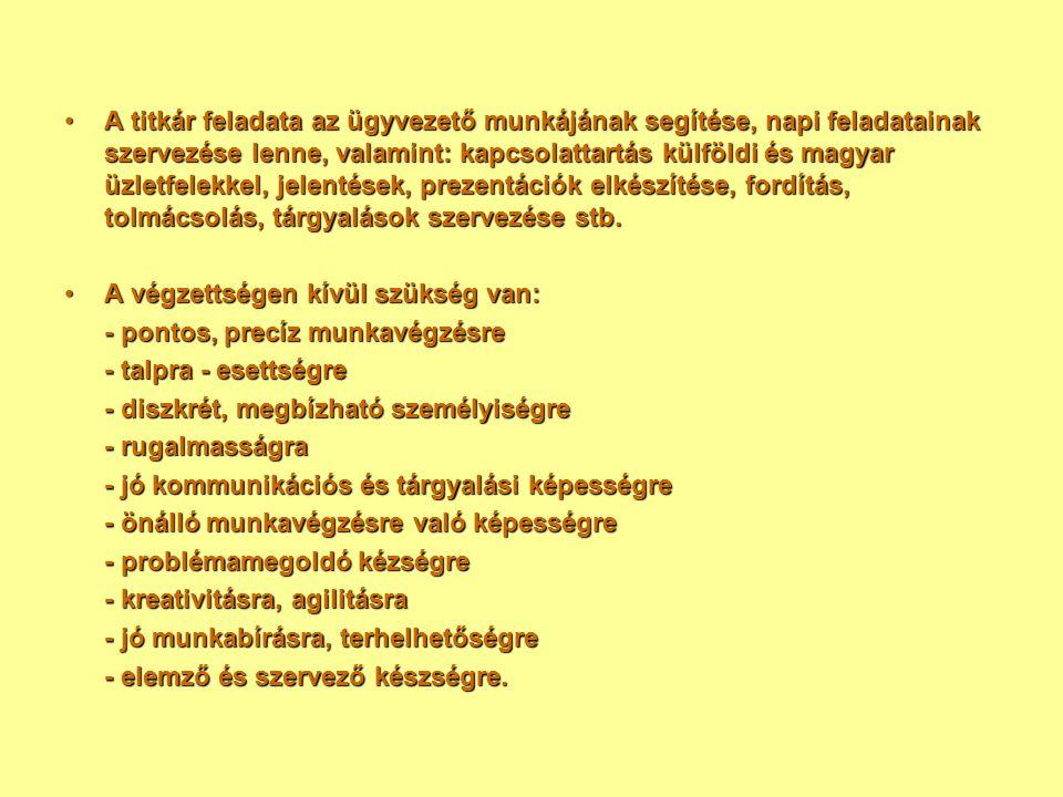 A titkár feladata az ügyvezető munkájának segítése, napi feladatainak szervezése lenne, valamint: kapcsolattartás külföldi és magyar üzletfelekkel, jelentések, prezentációk elkészítése, fordítás, tolmácsolás, tárgyalások szervezése stb.