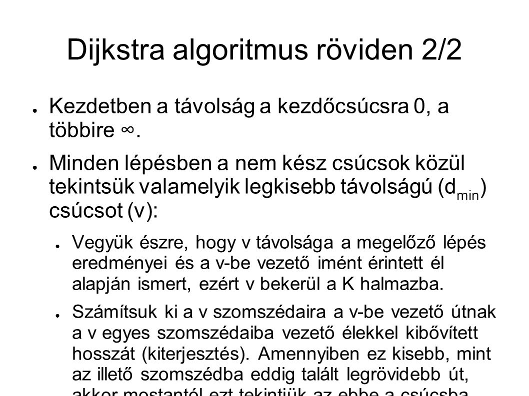 Dijkstra algoritmus röviden 2/2