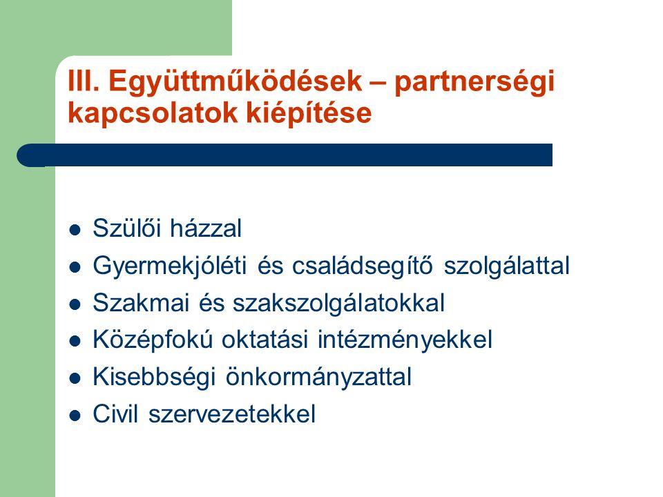 III. Együttműködések – partnerségi kapcsolatok kiépítése
