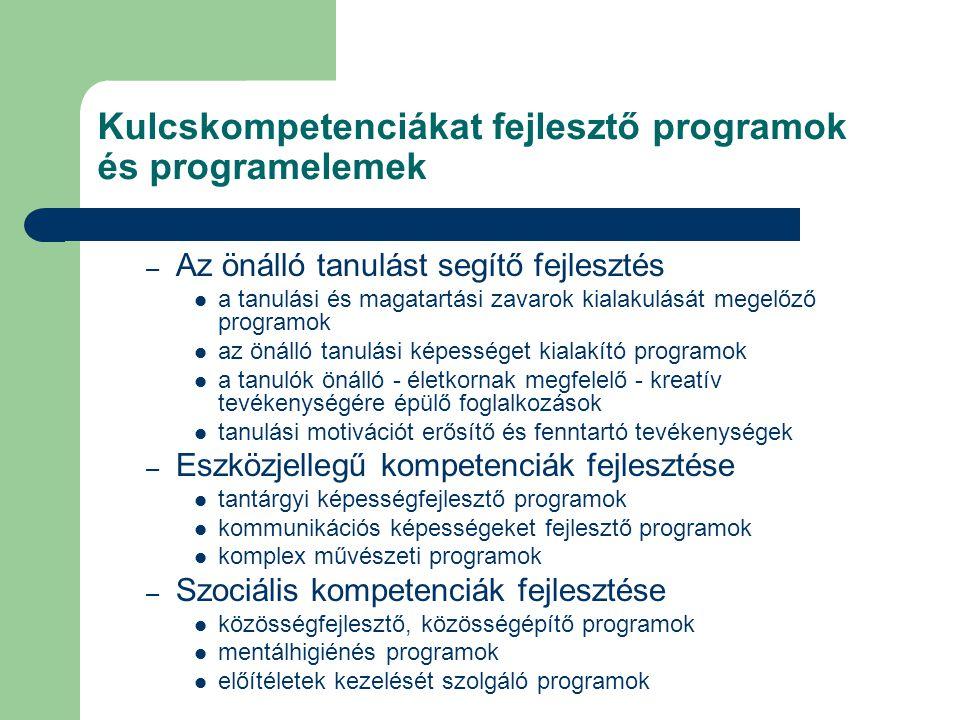 Kulcskompetenciákat fejlesztő programok és programelemek