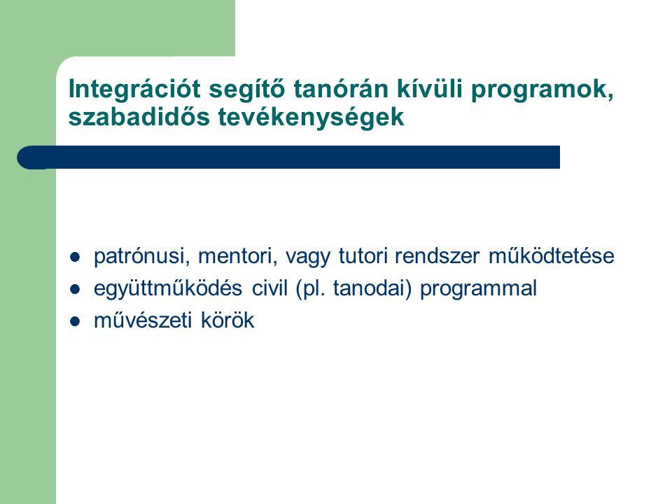 Integrációt segítő tanórán kívüli programok, szabadidős tevékenységek