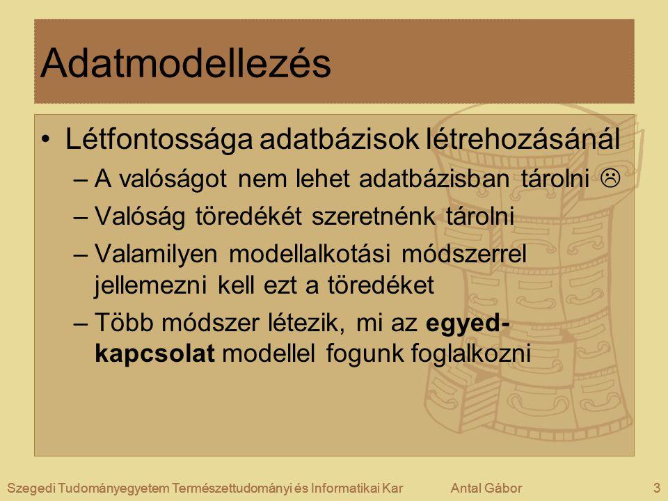 Adatmodellezés Létfontossága adatbázisok létrehozásánál