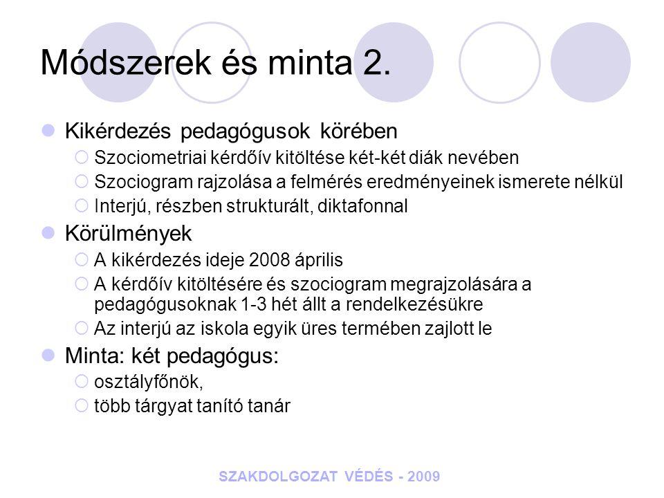 Módszerek és minta 2. Kikérdezés pedagógusok körében Körülmények