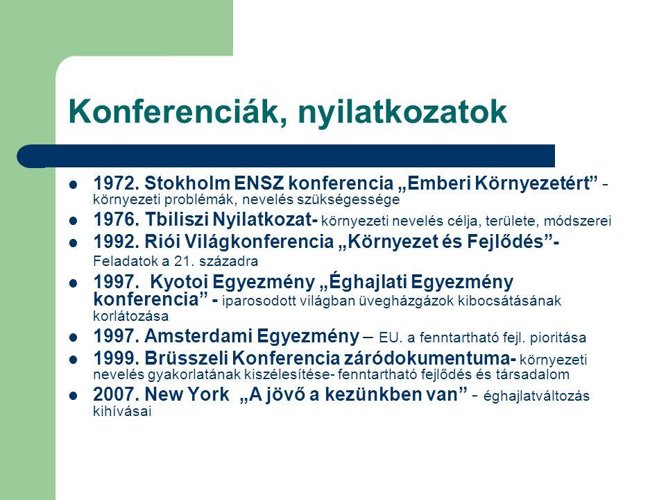 Konferenciák, nyilatkozatok