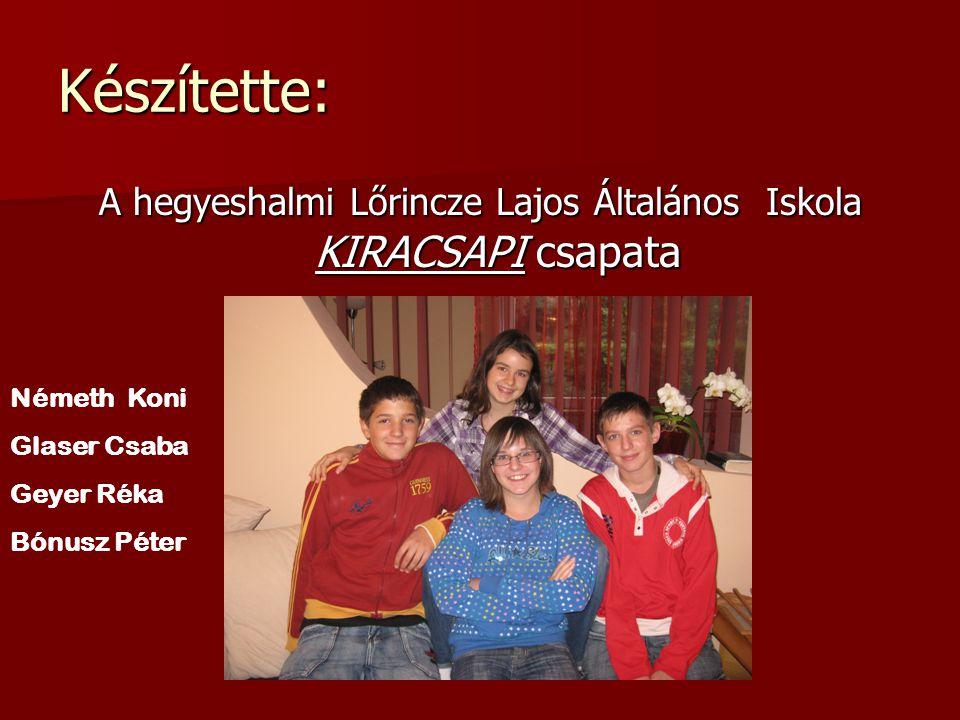 A hegyeshalmi Lőrincze Lajos Általános Iskola KIRACSAPI csapata