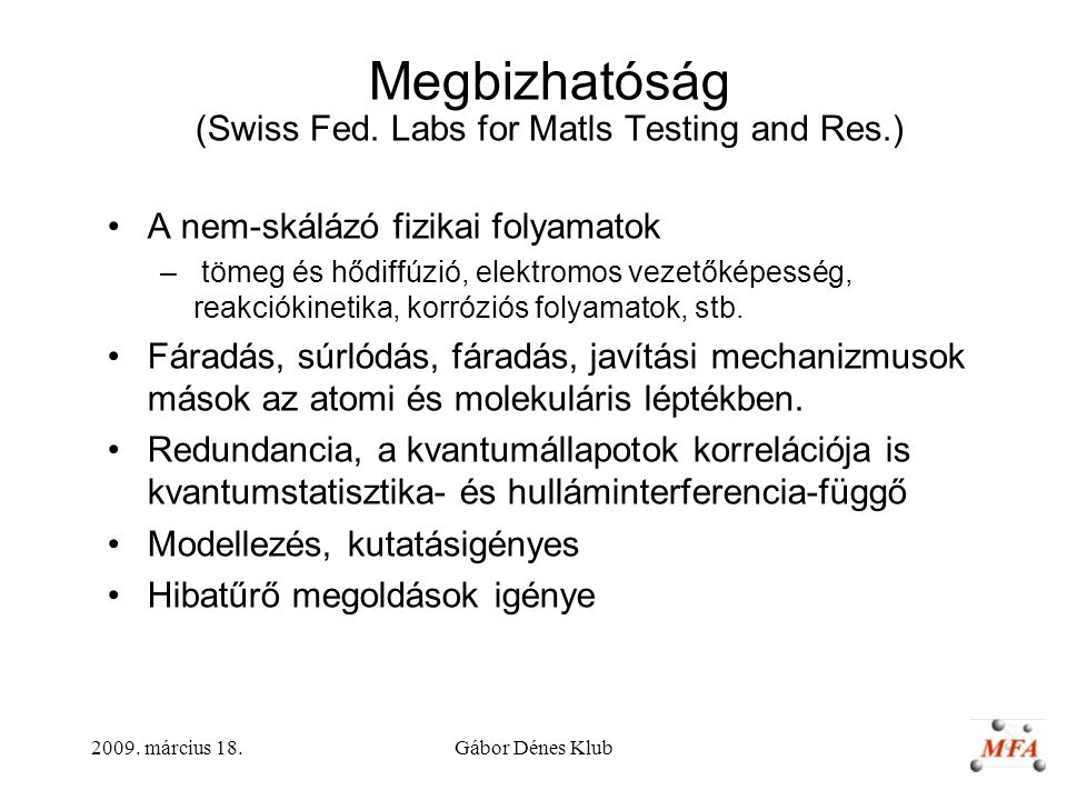 Megbizhatóság (Swiss Fed. Labs for Matls Testing and Res.)