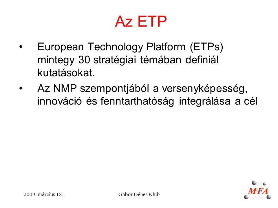 Az ETP European Technology Platform (ETPs) mintegy 30 stratégiai témában definiál kutatásokat.