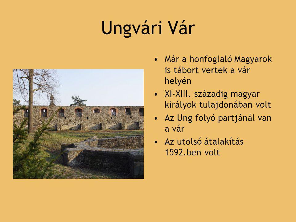 Ungvári Vár Már a honfoglaló Magyarok is tábort vertek a vár helyén