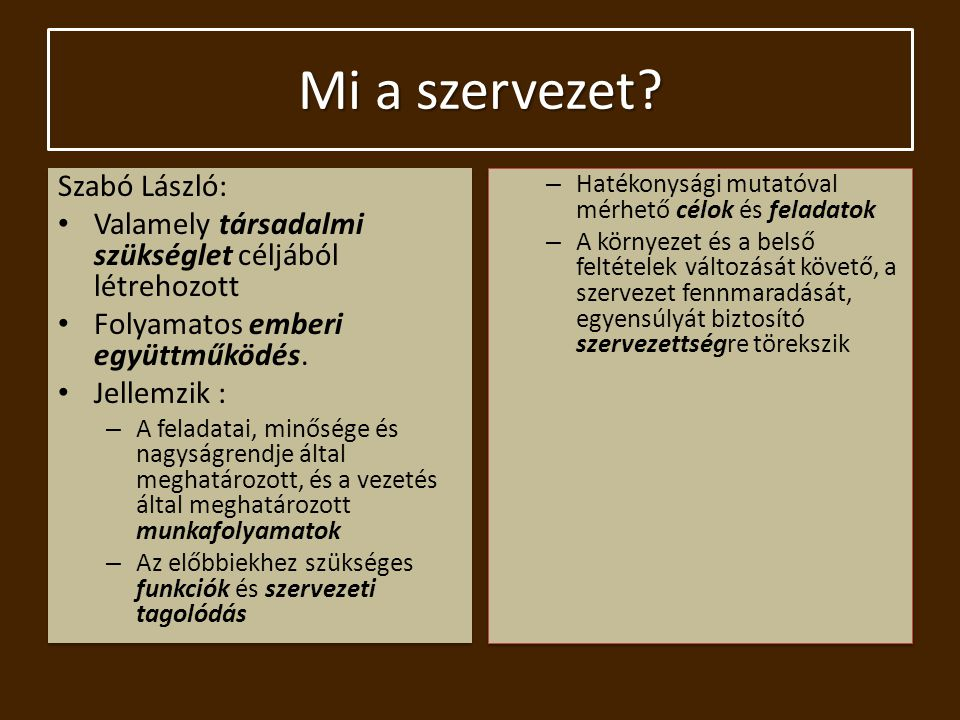 Mi a szervezet Szabó László: