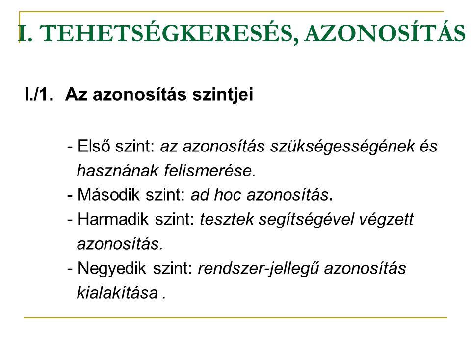 I. TEHETSÉGKERESÉS, AZONOSÍTÁS