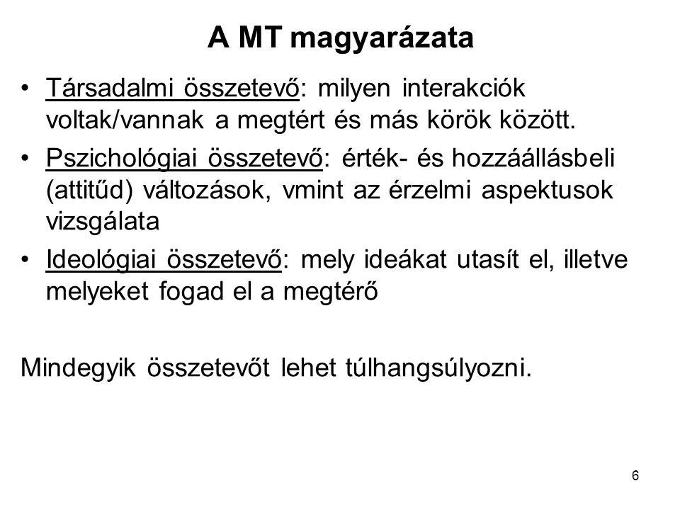 A MT magyarázata Társadalmi összetevő: milyen interakciók voltak/vannak a megtért és más körök között.