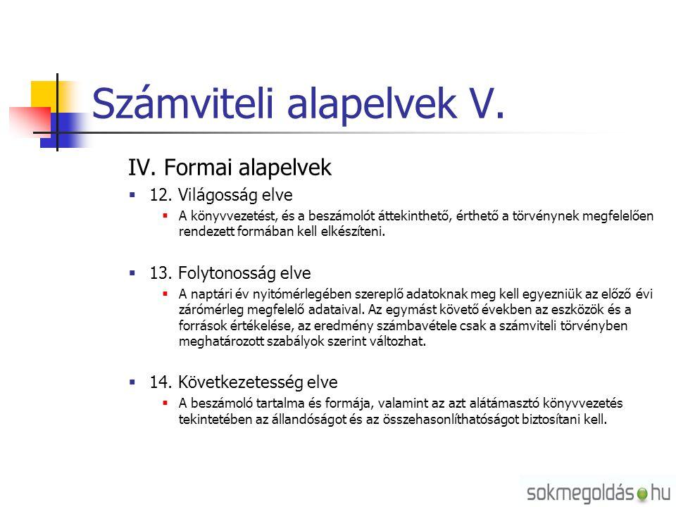 Számviteli alapelvek V.