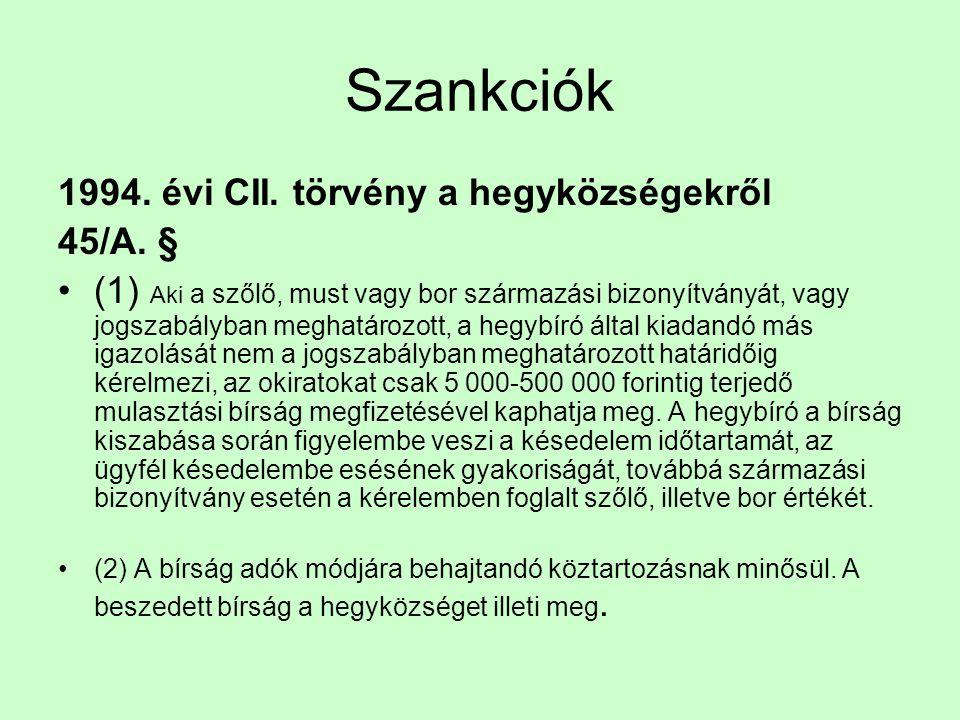Szankciók 1994. évi CII. törvény a hegyközségekről 45/A. §
