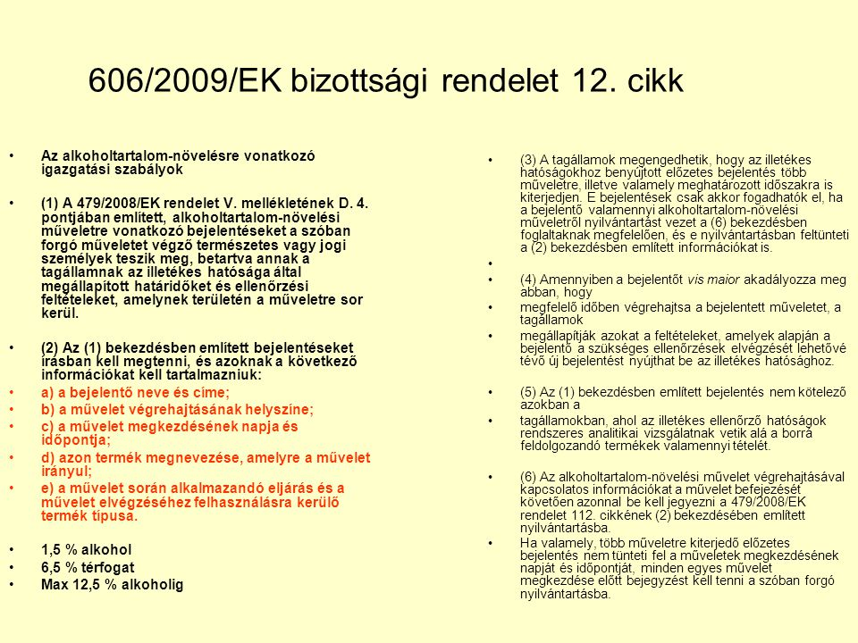 606/2009/EK bizottsági rendelet 12. cikk
