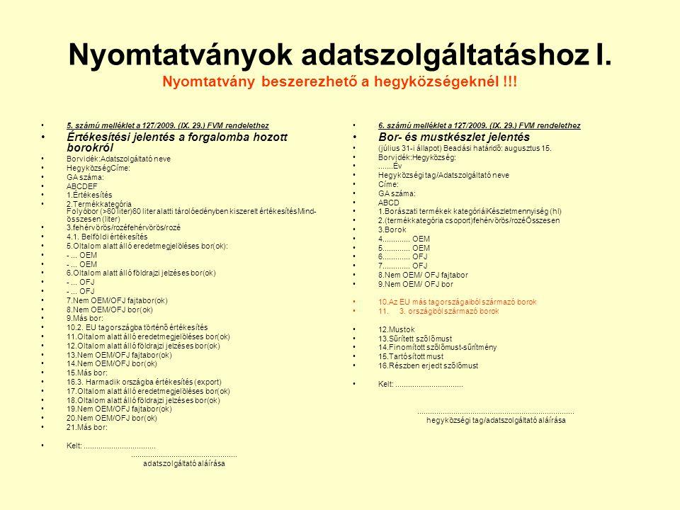 Nyomtatványok adatszolgáltatáshoz I
