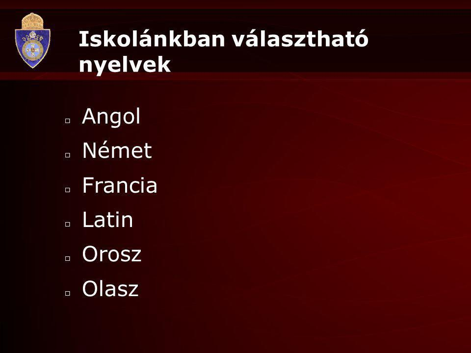 Iskolánkban választható nyelvek