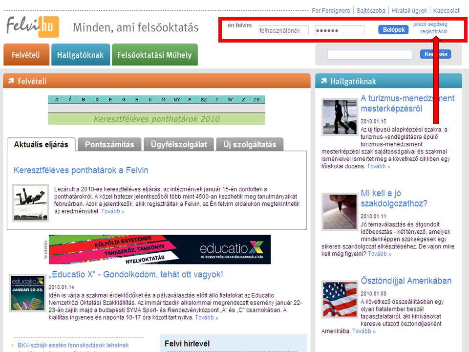 Regisztráció 1. www.felvi.hu