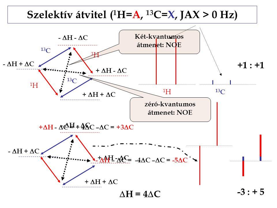 Szelektív átvitel (1H=A, 13C=X, JAX > 0 Hz)