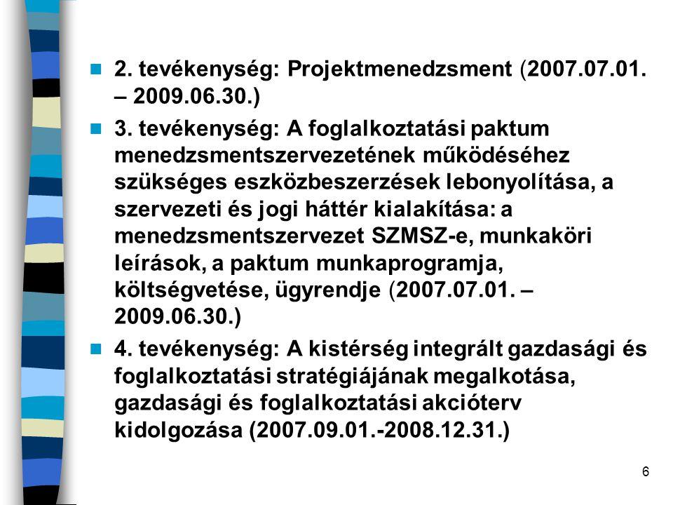 2. tevékenység: Projektmenedzsment (2007.07.01. – 2009.06.30.)