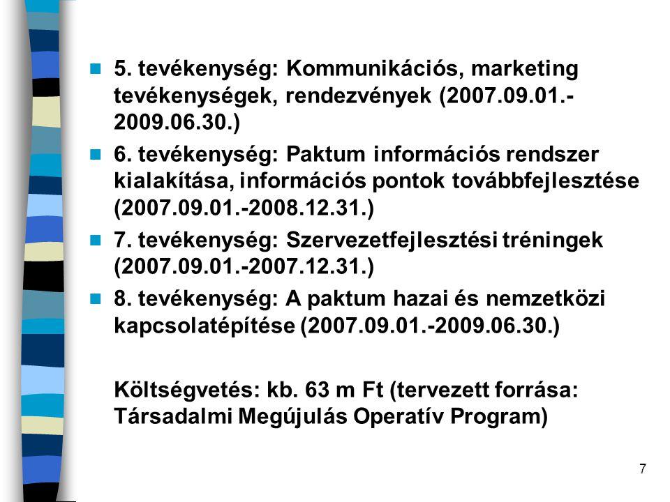 5. tevékenység: Kommunikációs, marketing tevékenységek, rendezvények (2007.09.01.-2009.06.30.)