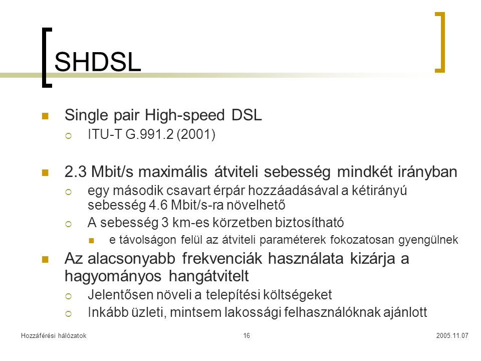 SHDSL Single pair High-speed DSL