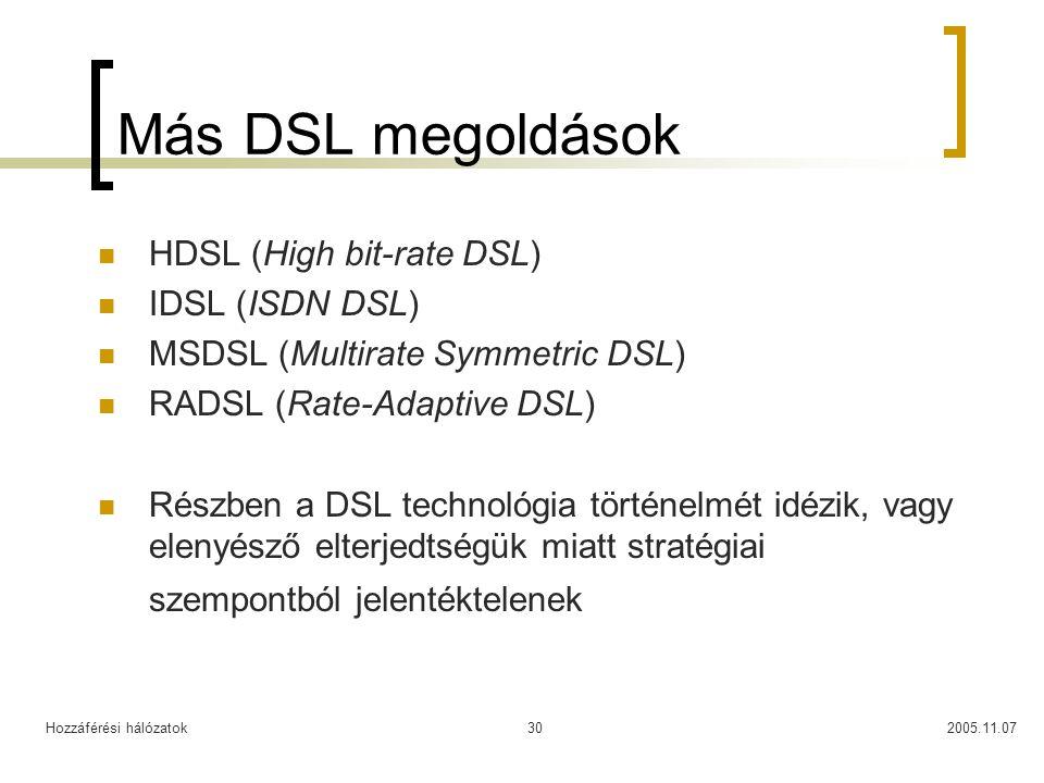 Más DSL megoldások HDSL (High bit-rate DSL) IDSL (ISDN DSL)