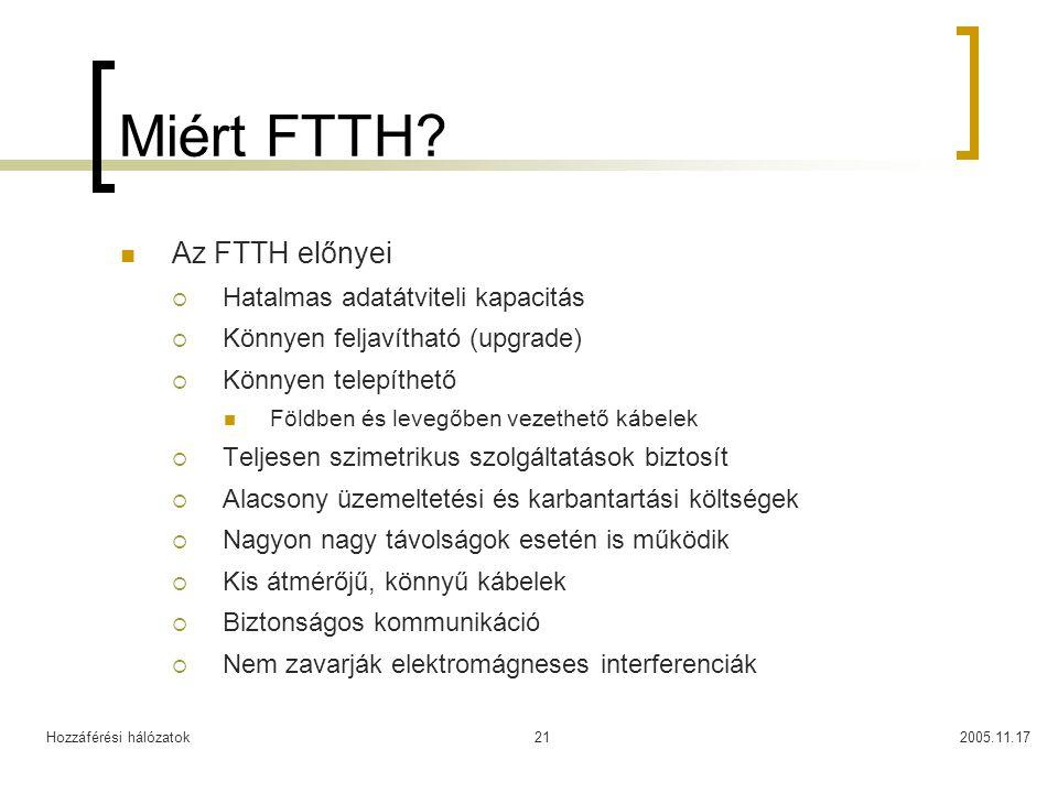 Miért FTTH Az FTTH előnyei Hatalmas adatátviteli kapacitás