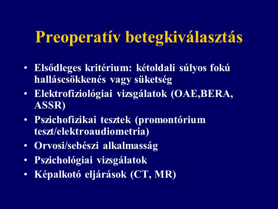 Preoperatív betegkiválasztás