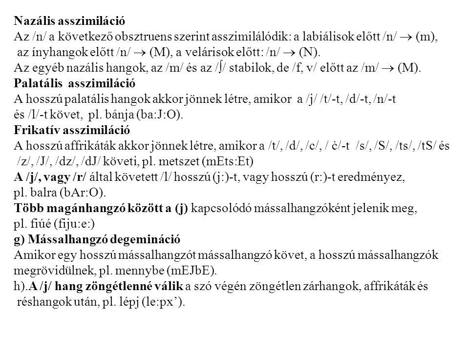 Nazális asszimiláció Az /n/ a következő obsztruens szerint asszimilálódik: a labiálisok előtt /n/  (m),