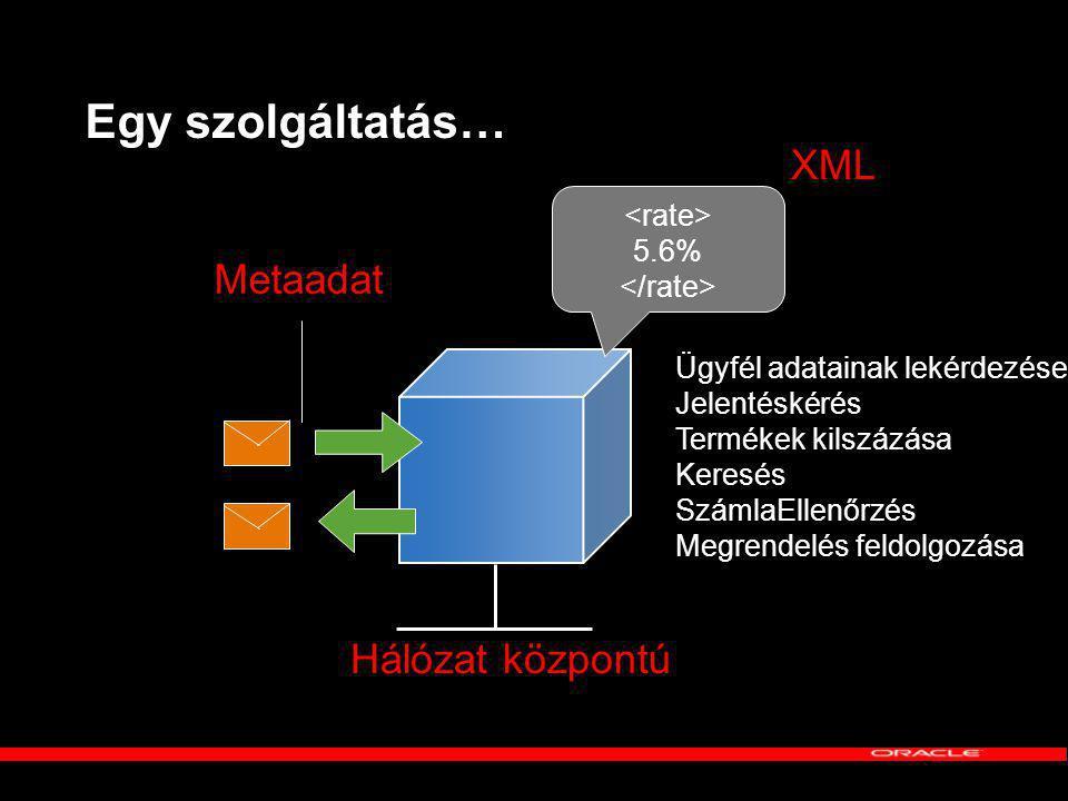 Egy szolgáltatás… XML Metaadat Hálózat központú <rate> 5.6%