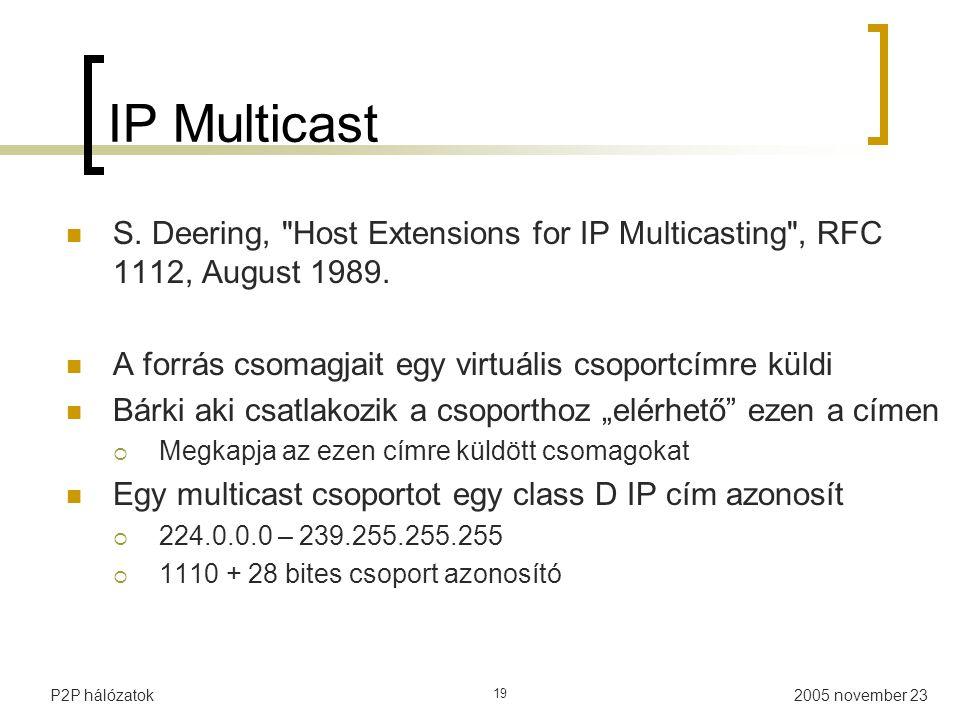 IP Multicast S. Deering, Host Extensions for IP Multicasting , RFC 1112, August 1989. A forrás csomagjait egy virtuális csoportcímre küldi.