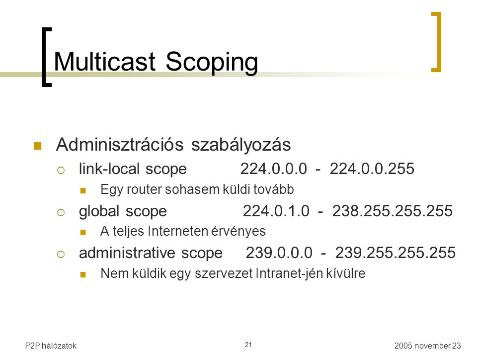Multicast Scoping Adminisztrációs szabályozás