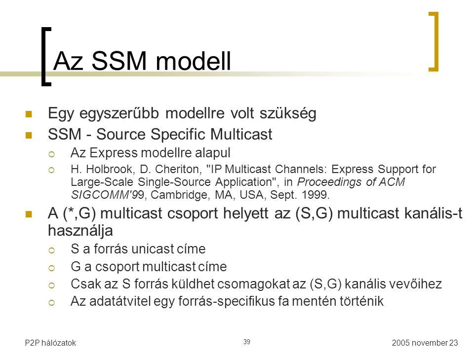 Az SSM modell Egy egyszerűbb modellre volt szükség