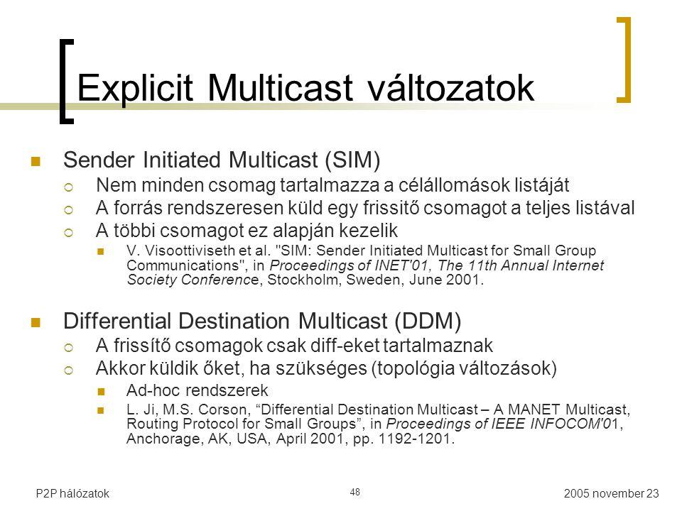 Explicit Multicast változatok