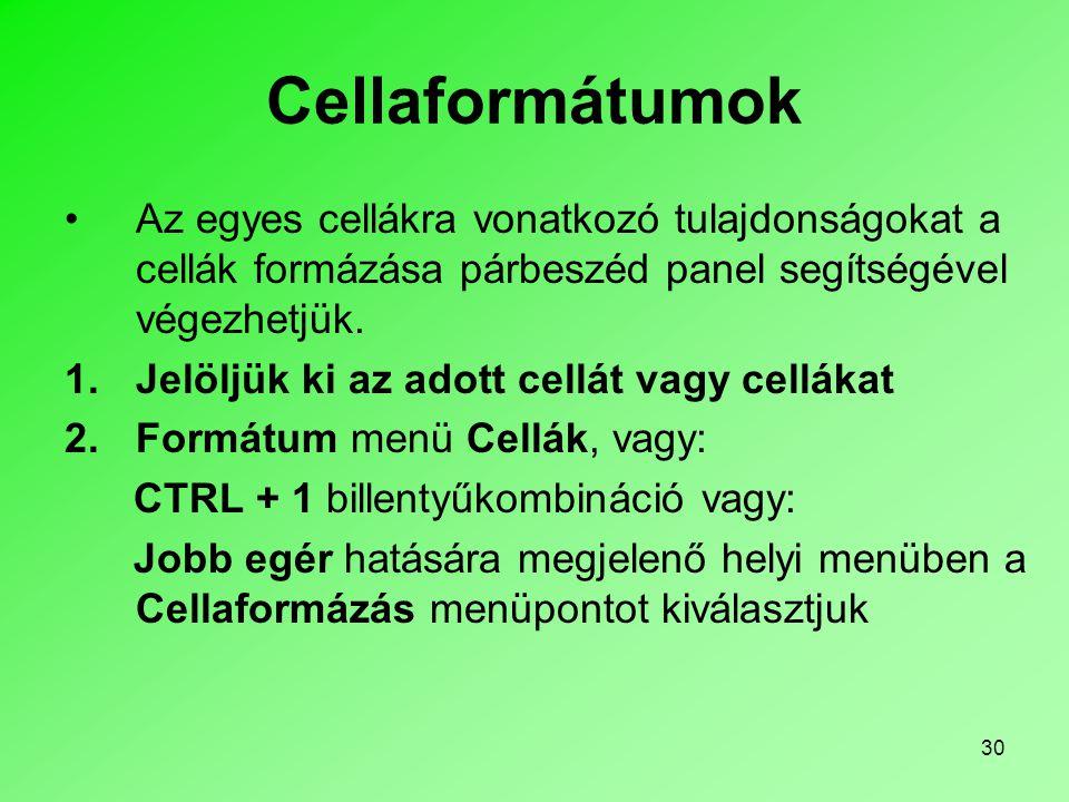 Cellaformátumok Az egyes cellákra vonatkozó tulajdonságokat a cellák formázása párbeszéd panel segítségével végezhetjük.