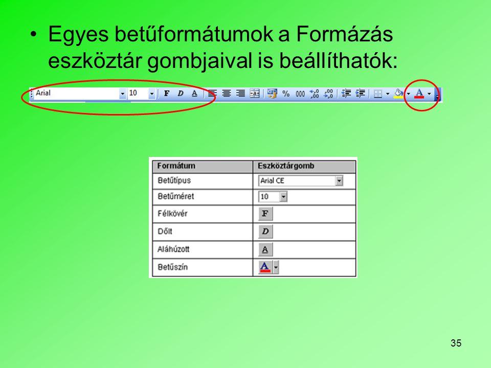 Egyes betűformátumok a Formázás eszköztár gombjaival is beállíthatók: