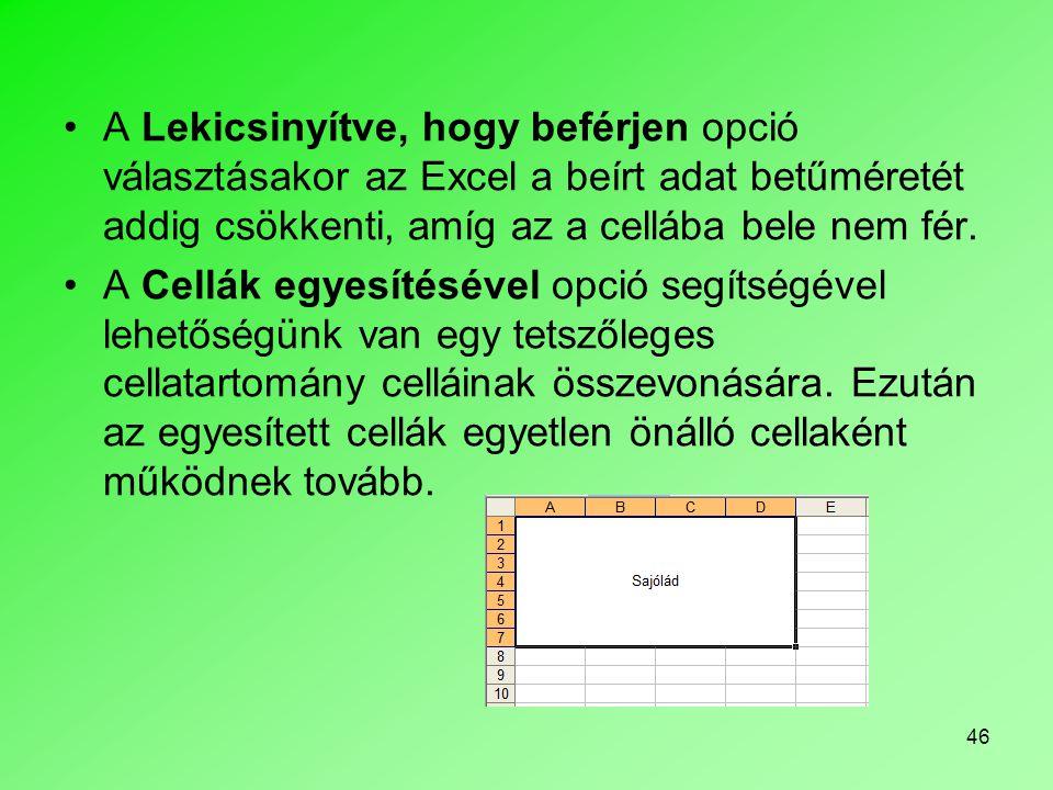 A Lekicsinyítve, hogy beférjen opció választásakor az Excel a beírt adat betűméretét addig csökkenti, amíg az a cellába bele nem fér.