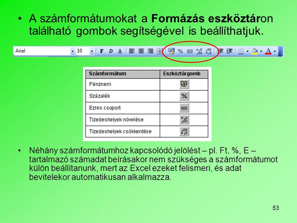 A számformátumokat a Formázás eszköztáron található gombok segítségével is beállíthatjuk.
