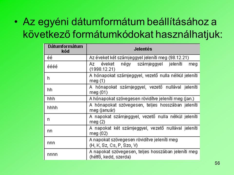 Az egyéni dátumformátum beállításához a következő formátumkódokat használhatjuk: