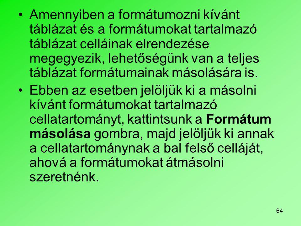 Amennyiben a formátumozni kívánt táblázat és a formátumokat tartalmazó táblázat celláinak elrendezése megegyezik, lehetőségünk van a teljes táblázat formátumainak másolására is.