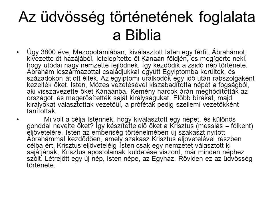 Az üdvösség történetének foglalata a Biblia
