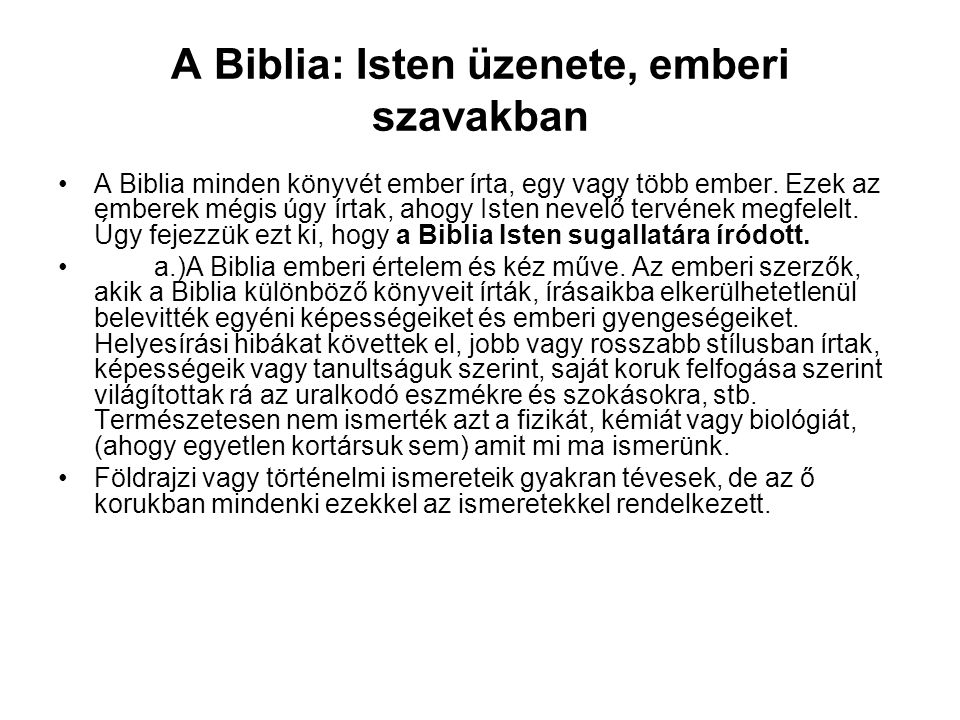 A Biblia: Isten üzenete, emberi szavakban