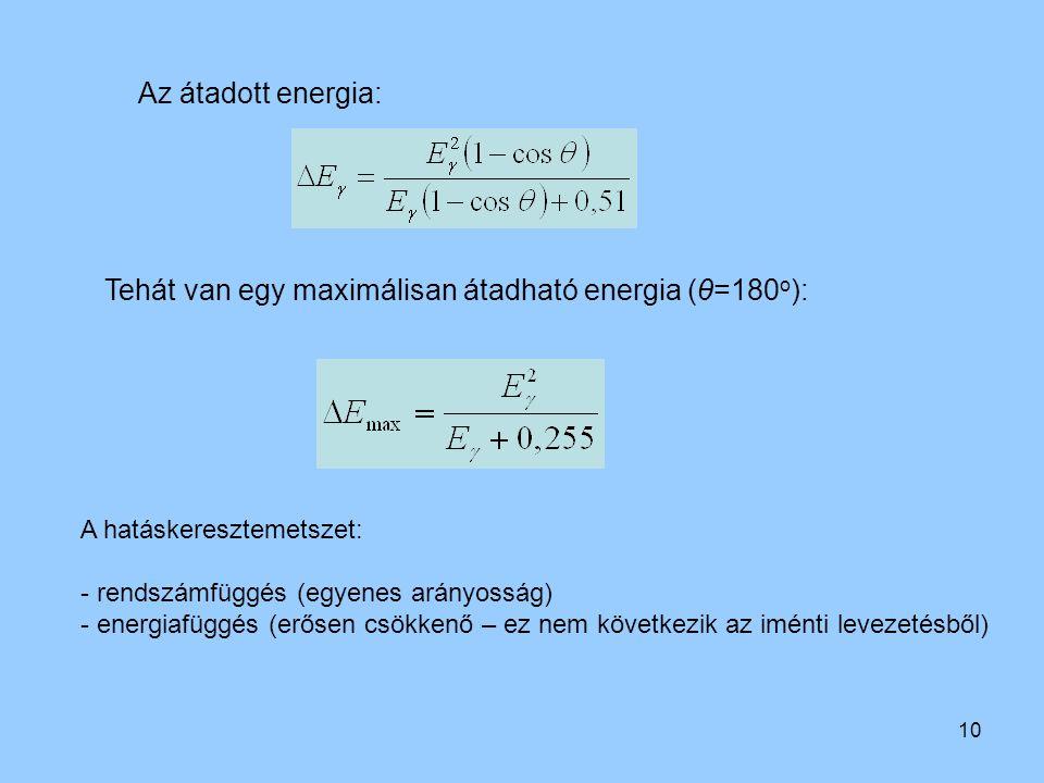 Tehát van egy maximálisan átadható energia (θ=180o):