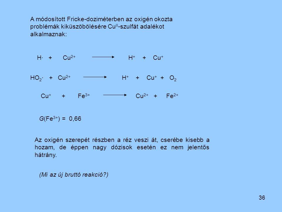 A módosított Fricke-doziméterben az oxigén okozta problémák kiküszöbölésére CuII-szulfát adalékot alkalmaznak: