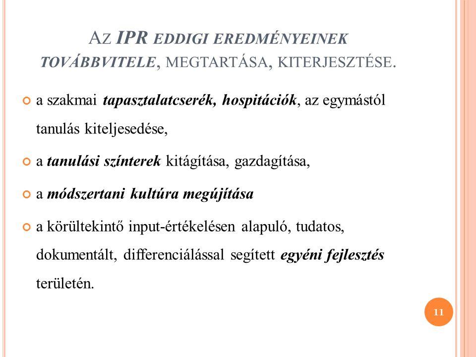 Az IPR eddigi eredményeinek továbbvitele, megtartása, kiterjesztése.