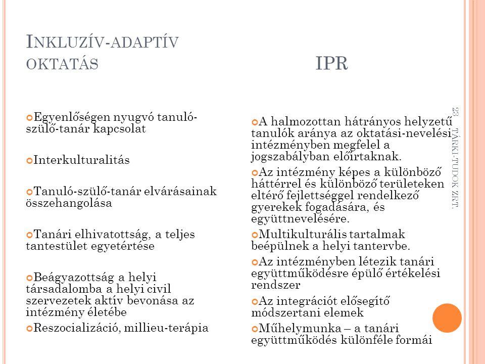 Inkluzív-adaptív oktatás IPR