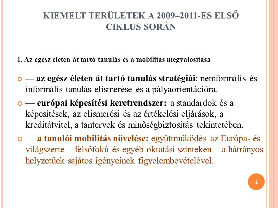 KIEMELT TERÜLETEK A 2009–2011-ES ELSŐ CIKLUS SORÁN
